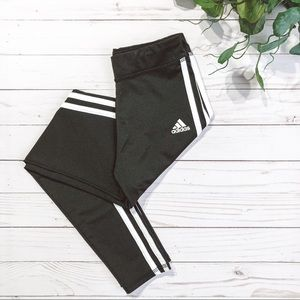 Adidas Girls Classic Black/White Stripe Leggings